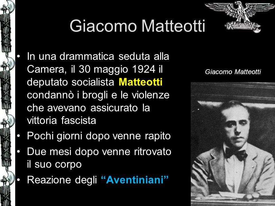 Giacomo Matteotti In una drammatica seduta alla Camera, il 30 maggio 1924 il deputato socialista Matteotti condannò i brogli e le violenze che avevano