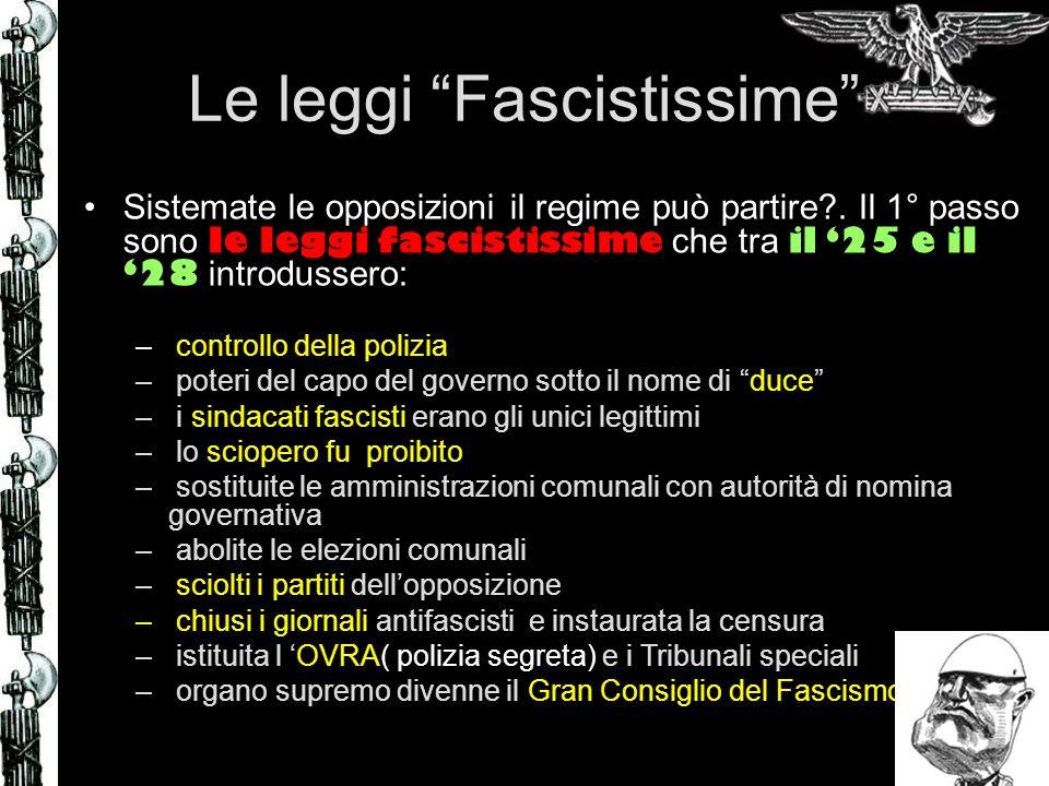 Le leggi Fascistissime Sistemate le opposizioni il regime può partire?. Il 1° passo sono le leggi fascistissime che tra il 25 e il 28 introdussero: –