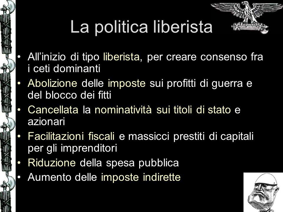 La crisi economica La congiuntura economica positiva favorisce la riuscita delle riforme economiche di Mussolini fino al 25 Dopo, leconomia mondiale rallenta e lItalia va in crisi per lo squilibrio della bilancia dei pagamenti La Lira si svaluta (150Lire per 1 Sterlina) Inflazione
