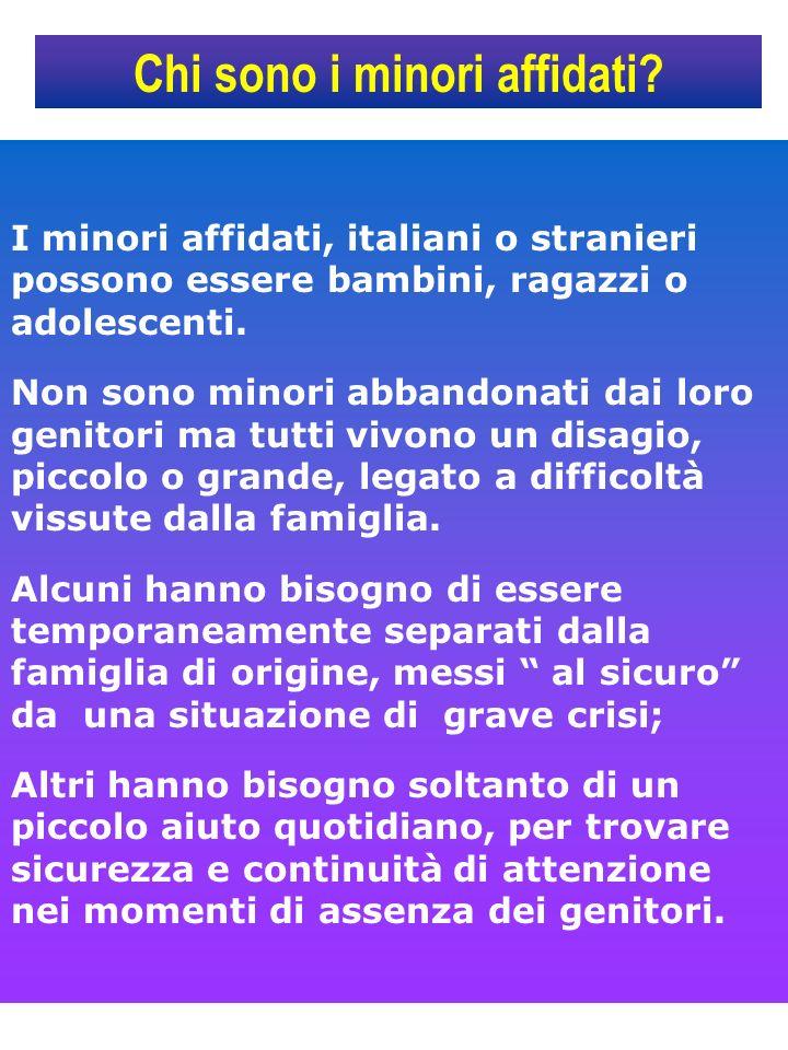 Chi sono i minori affidati? I minori affidati, italiani o stranieri possono essere bambini, ragazzi o adolescenti. Non sono minori abbandonati dai lor