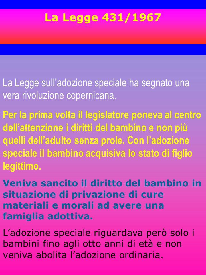Legge 184/1983 norma due istituti: LADOZIONE E LAFFIDO Art.
