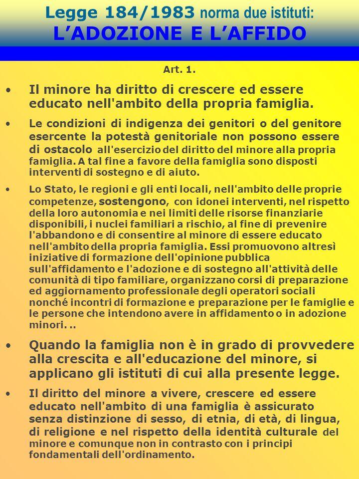 Legge 184/1983 norma due istituti: LADOZIONE E LAFFIDO Art. 1. Il minore ha diritto di crescere ed essere educato nell'ambito della propria famiglia.