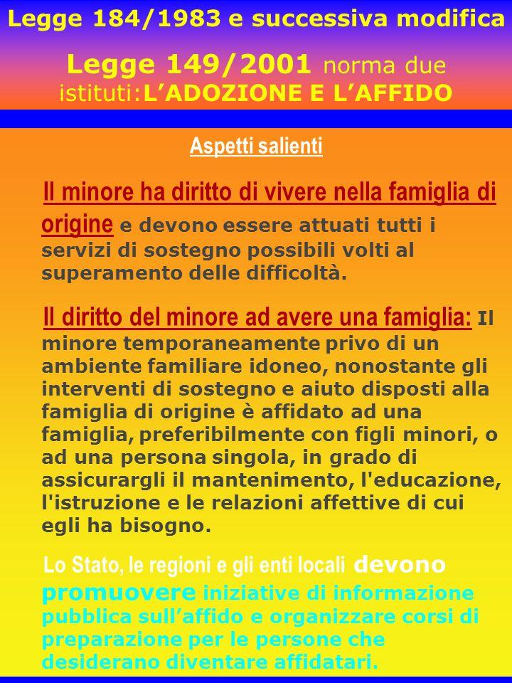 Aspetti salienti Il minore ha diritto di vivere nella famiglia di origine e devono essere attuati tutti i servizi di sostegno possibili volti al super