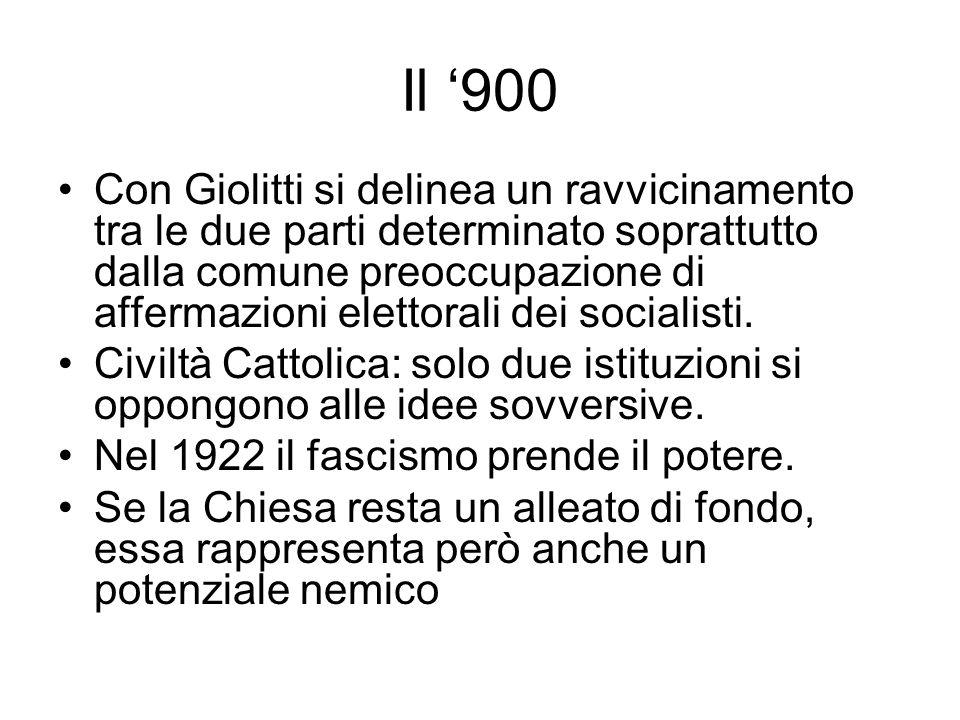 Stato e Chiesa tra 800 e 900 Nel 1874 a Venezia nacque lorganizzazione cattolica Opera dei congressi, che condannò le eresie, riconobbe lautorità del