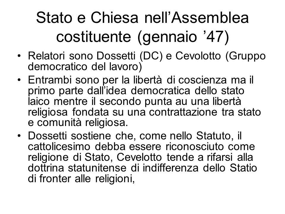 Genesi dellart. 7 nellASssemblea costituente (ottobre 47) Sul tema della scuola i protagonisti sono due: Concetto Marchesi ed Aldo Moro. Il primo, com