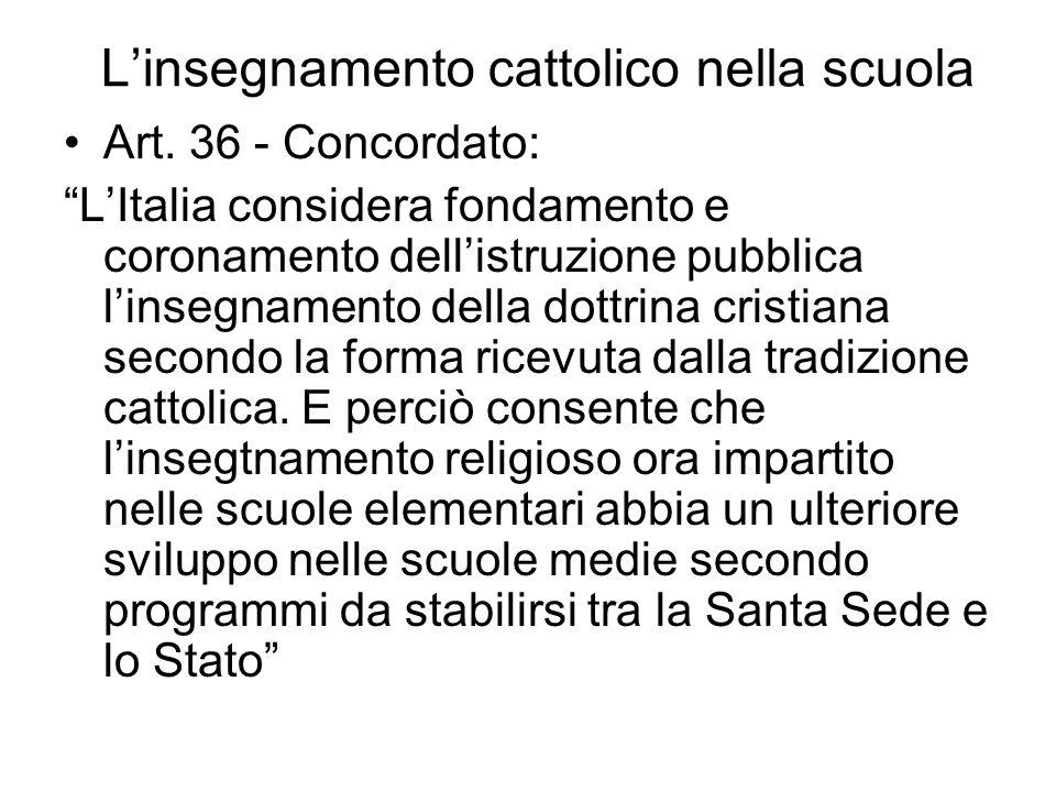 Larticolo 7 della Costituzione Lo Stato e la Chiesa cattolica sono, ciascuno nel proprio ordine, indipendenti e sovrani. I loro rapporti sono regolati
