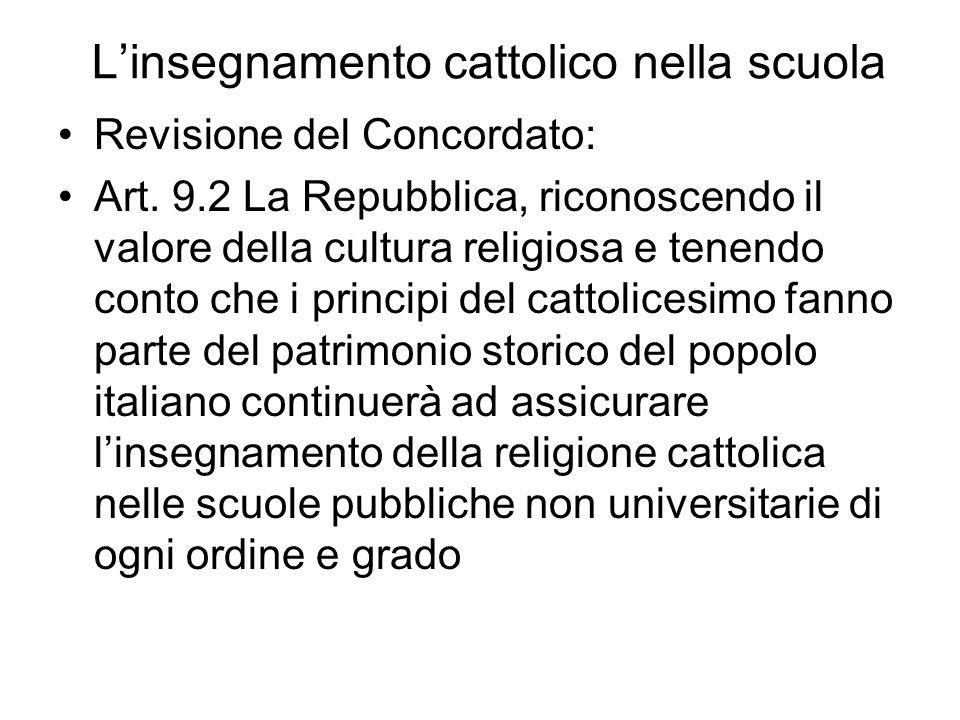 Linsegnamento cattolico nella scuola e il principio di laicità della Repubblica Costituzione Art 2 La Repubblica riconosce e garantisce i diritti invi