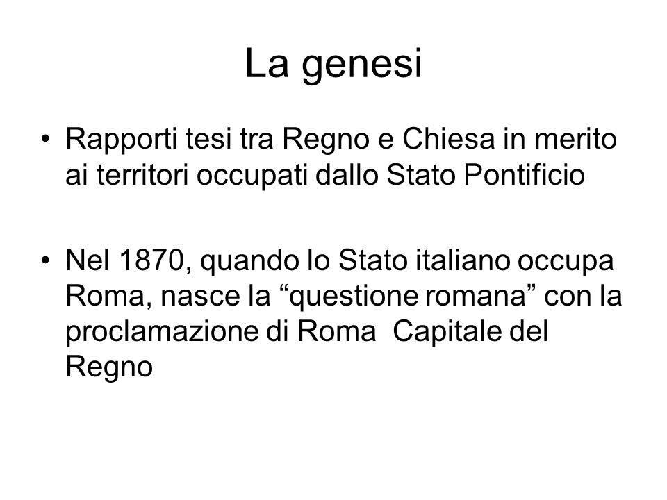 La genesi Rapporti tesi tra Regno e Chiesa in merito ai territori occupati dallo Stato Pontificio Nel 1870, quando lo Stato italiano occupa Roma, nasce la questione romana con la proclamazione di Roma Capitale del Regno