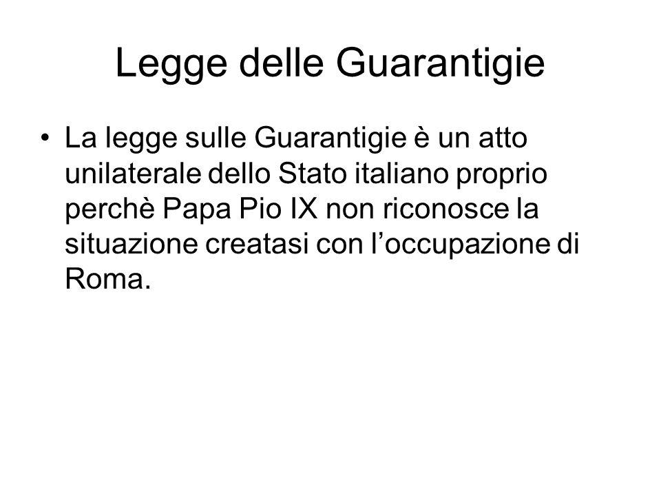 Legge delle Guarantigie La legge sulle Guarantigie è un atto unilaterale dello Stato italiano proprio perchè Papa Pio IX non riconosce la situazione creatasi con loccupazione di Roma.