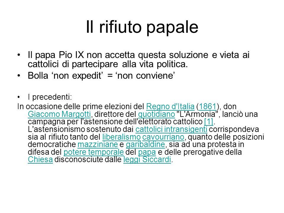 Il rifiuto papale Il papa Pio IX non accetta questa soluzione e vieta ai cattolici di partecipare alla vita politica.