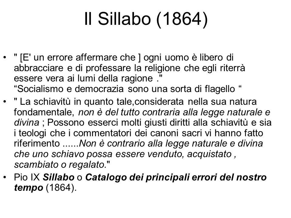 Il rifiuto papale Il papa Pio IX non accetta questa soluzione e vieta ai cattolici di partecipare alla vita politica. Bolla non expedit = non conviene