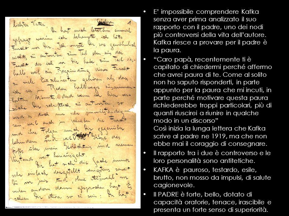E impossibile comprendere Kafka senza aver prima analizzato il suo rapporto con il padre, uno dei nodi più controversi della vita dellautore. Kafka ri
