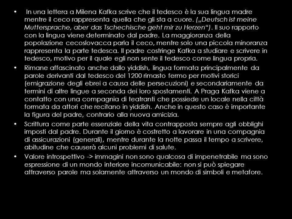 In una lettera a Milena Kafka scrive che il tedesco è la sua lingua madre mentre il ceco rappresenta quella che gli sta a cuore. (Deutsch ist meine Mu