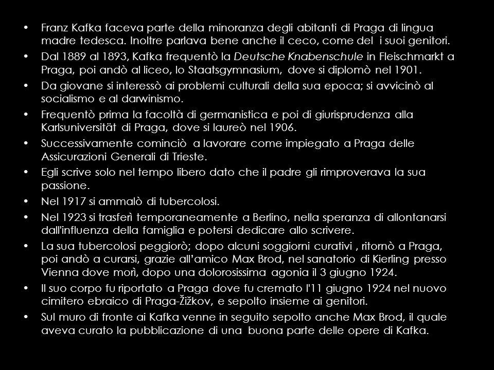 Franz Kafka faceva parte della minoranza degli abitanti di Praga di lingua madre tedesca. Inoltre parlava bene anche il ceco, come del i suoi genitori