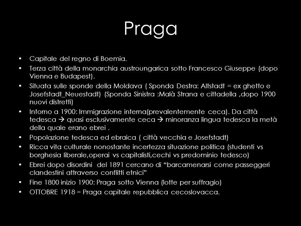 Praga Capitale del regno di Boemia. Terza città della monarchia austroungarica sotto Francesco Giuseppe (dopo Vienna e Budapest). Situata sulle sponde