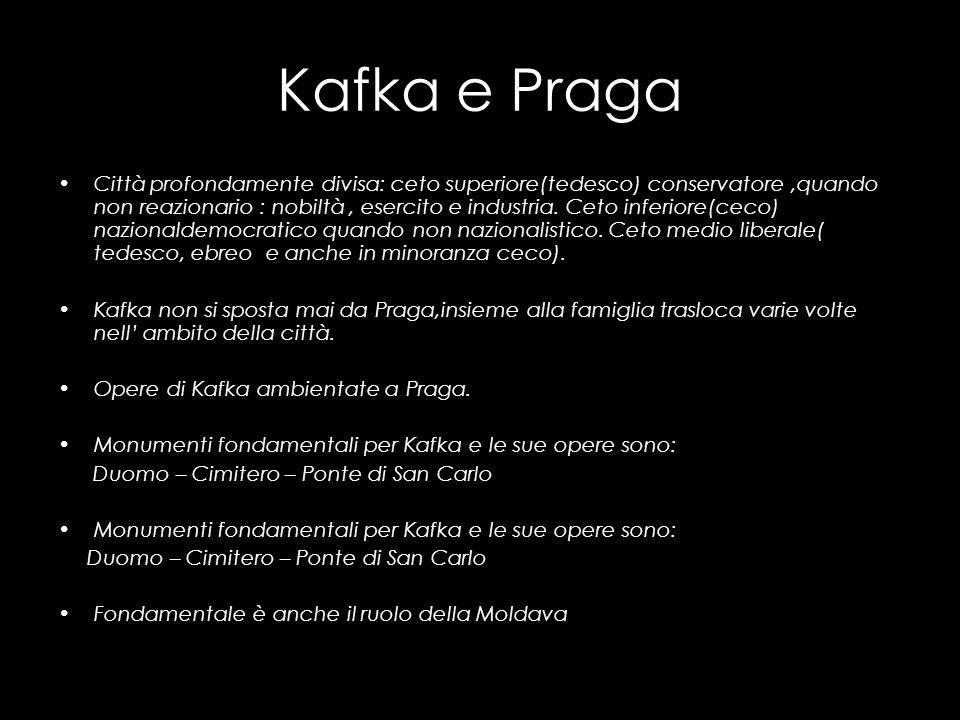 Kafka e Praga Città profondamente divisa: ceto superiore(tedesco) conservatore,quando non reazionario : nobiltà, esercito e industria. Ceto inferiore(