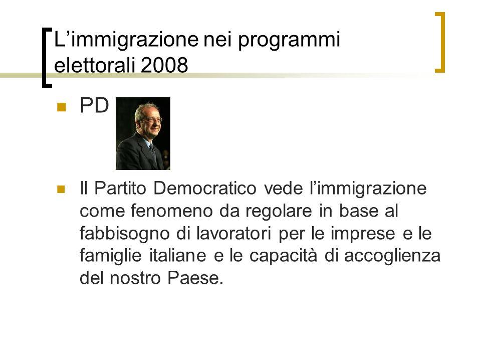 Limmigrazione nei programmi elettorali 2008