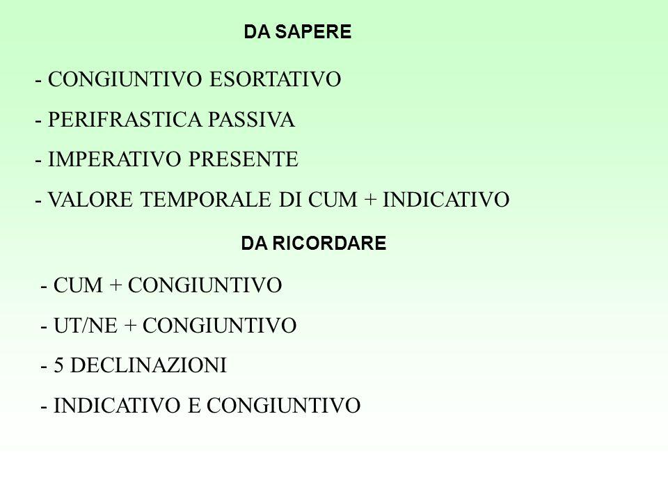 DA SAPERE - CONGIUNTIVO ESORTATIVO - PERIFRASTICA PASSIVA - IMPERATIVO PRESENTE - VALORE TEMPORALE DI CUM + INDICATIVO DA RICORDARE - CUM + CONGIUNTIV