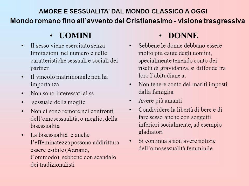AMORE E SESSUALITA DAL MONDO CLASSICO A OGGI Mondo romano fino allavvento del Cristianesimo - visione trasgressiva UOMINI Il sesso viene esercitato se
