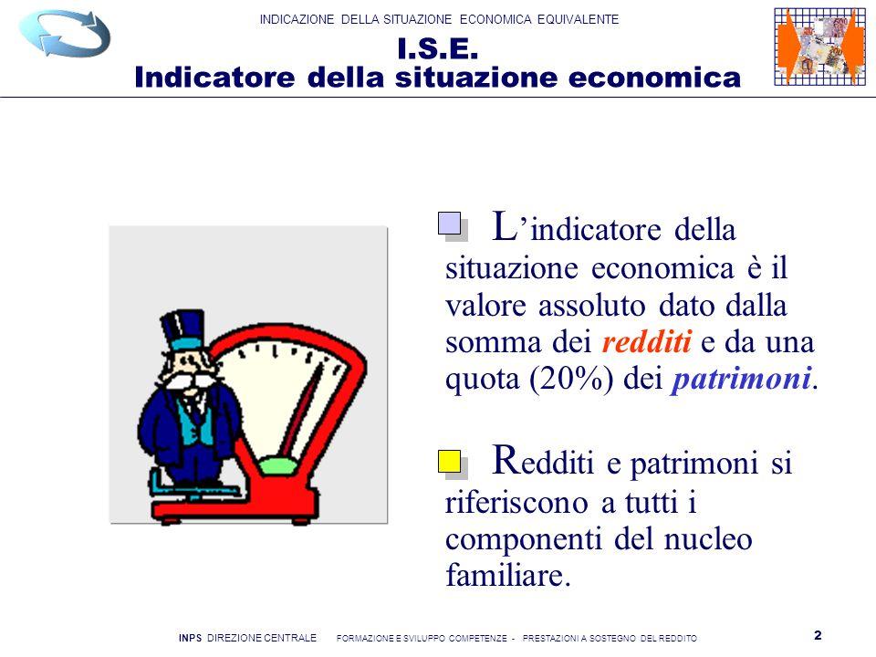 INDICAZIONE DELLA SITUAZIONE ECONOMICA EQUIVALENTE INPS DIREZIONE CENTRALE FORMAZIONE E SVILUPPO COMPETENZE - PRESTAZIONI A SOSTEGNO DEL REDDITO 3 I.S.E.E.