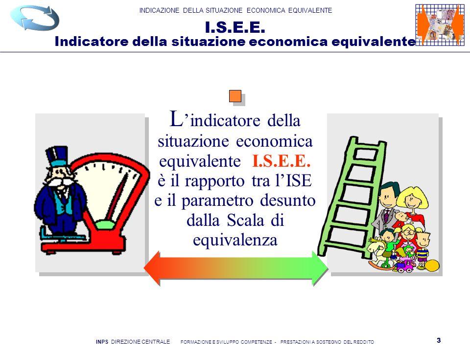 INDICAZIONE DELLA SITUAZIONE ECONOMICA EQUIVALENTE INPS DIREZIONE CENTRALE FORMAZIONE E SVILUPPO COMPETENZE - PRESTAZIONI A SOSTEGNO DEL REDDITO 4 Il calcolo della situazione economica I l richiedente deve dichiarare redditi e patrimoni posseduti da tutti i componenti il nucleo familiare Il reddito è quello conseguito da tutti i componenti il nucleo nellanno precedente alla domanda il patrimonio è quello posseduto da tutti i componenti il nucleo alla data del 31 dicembre dellanno precedente C ombinando redditi, patrimoni e caratteristiche del nucleo, vengono calcolati due indicatori I.S.E.