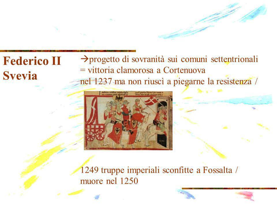 Federico II Svevia progetto di sovranità sui comuni settentrionali = vittoria clamorosa a Cortenuova nel 1237 ma non riuscì a piegarne la resistenza / 1249 truppe imperiali sconfitte a Fossalta / muore nel 1250