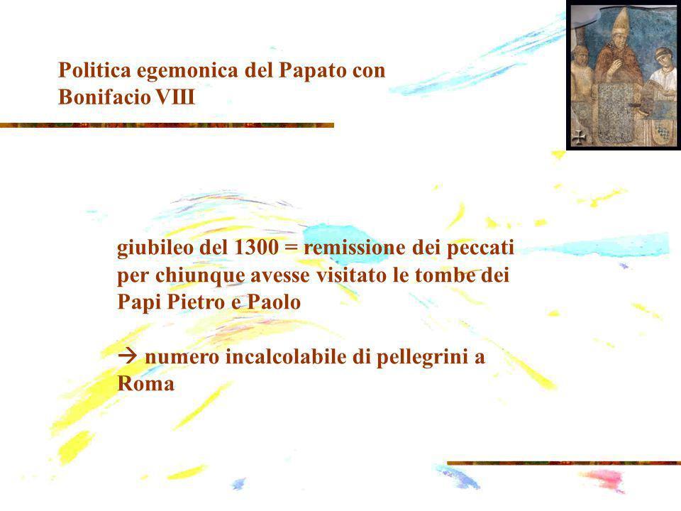 giubileo del 1300 = remissione dei peccati per chiunque avesse visitato le tombe dei Papi Pietro e Paolo numero incalcolabile di pellegrini a Roma Politica egemonica del Papato con Bonifacio VIII