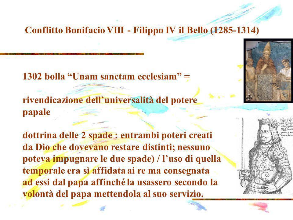 1302 bolla Unam sanctam ecclesiam = rivendicazione delluniversalità del potere papale dottrina delle 2 spade : entrambi poteri creati da Dio che dovevano restare distinti; nessuno poteva impugnare le due spade) / luso di quella temporale era sì affidata ai re ma consegnata ad essi dal papa affinché la usassero secondo la volontà del papa mettendola al suo servizio.