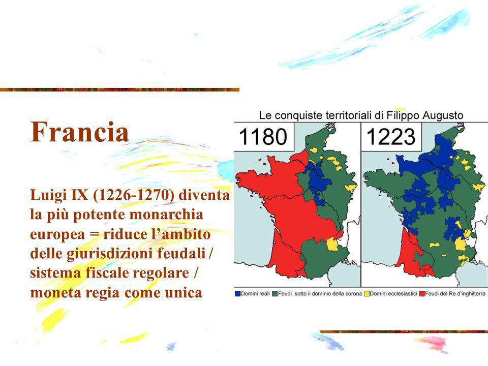 Francia Luigi IX (1226-1270) diventa la più potente monarchia europea = riduce lambito delle giurisdizioni feudali / sistema fiscale regolare / moneta regia come unica