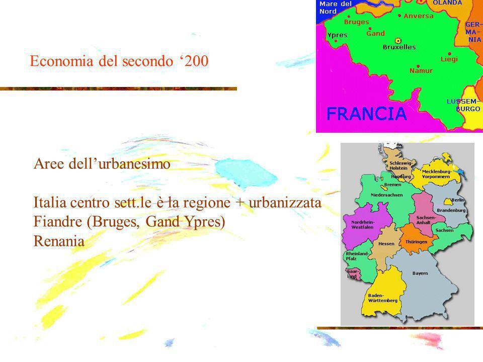 Aree dellurbanesimo Italia centro sett.le è la regione + urbanizzata Fiandre (Bruges, Gand Ypres) Renania Economia del secondo 200