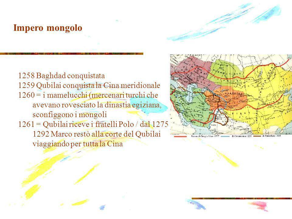 1258 Baghdad conquistata 1259 Qubilai conquista la Cina meridionale 1260 = i mamelucchi (mercenari turchi che avevano rovesciato la dinastia egiziana, sconfiggono i mongoli 1261 = Qubilai riceve i fratelli Polo / dal 1275 al 1292 Marco restò alla corte del Qubilai viaggiando per tutta la Cina Impero mongolo