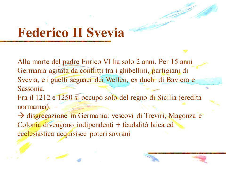 Federico II Svevia Alla morte del padre Enrico VI ha solo 2 anni.