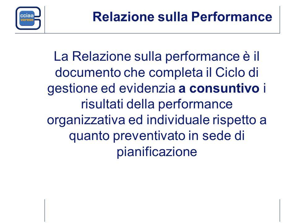 Relazione sulla Performance La Relazione sulla performance è il documento che completa il Ciclo di gestione ed evidenzia a consuntivo i risultati dell
