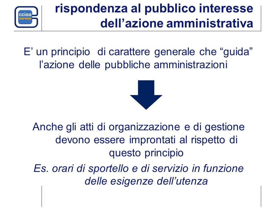 rispondenza al pubblico interesse dellazione amministrativa E un principio di carattere generale che guida lazione delle pubbliche amministrazioni Anc