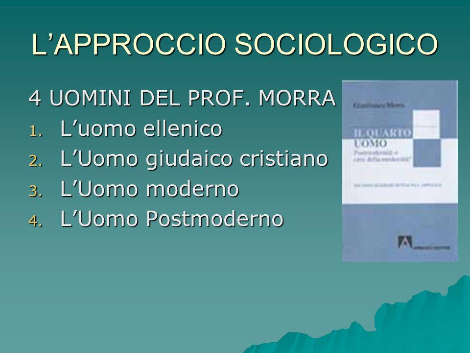 LAPPROCCIO SOCIOLOGICO 4 UOMINI DEL PROF.MORRA 1.