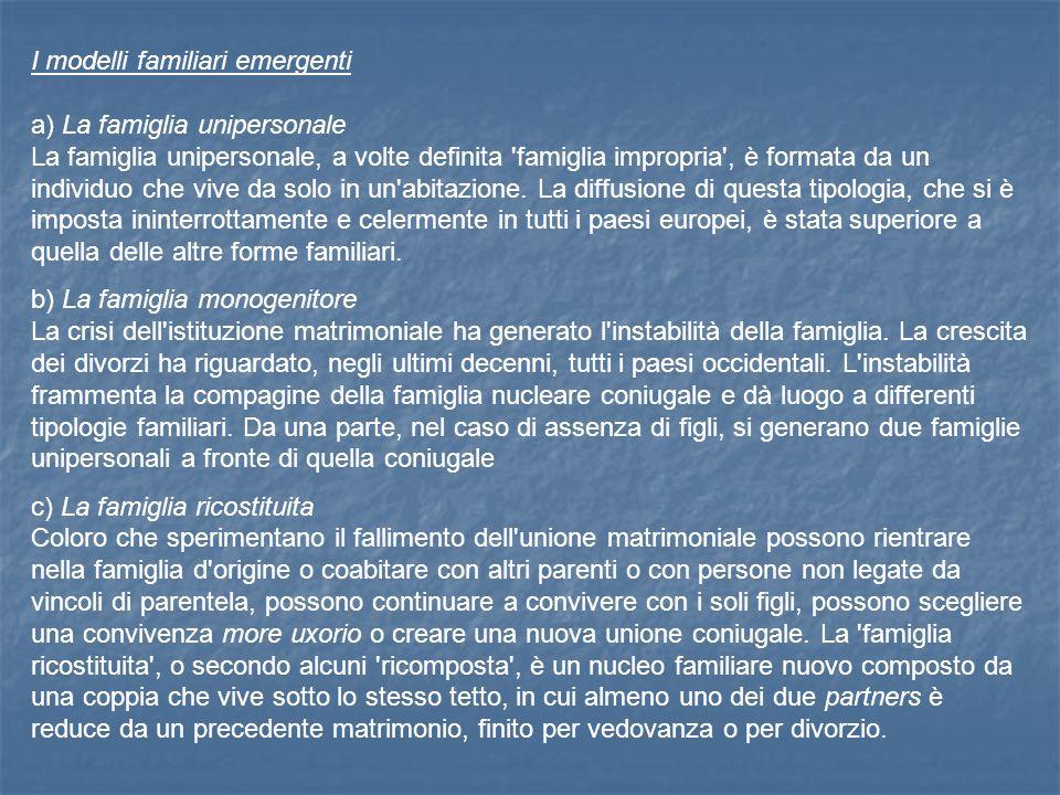 I modelli familiari emergenti a) La famiglia unipersonale La famiglia unipersonale, a volte definita famiglia impropria , è formata da un individuo che vive da solo in un abitazione.