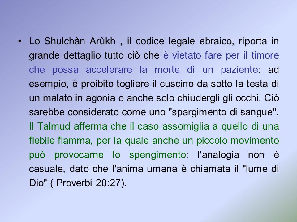 Lo Shulchàn Arùkh, il codice legale ebraico, riporta in grande dettaglio tutto ciò che è vietato fare per il timore che possa accelerare la morte di u