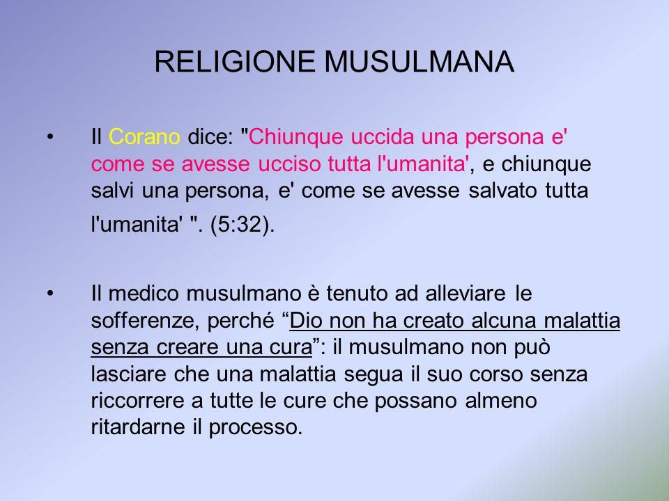 RELIGIONE MUSULMANA Il Corano dice: