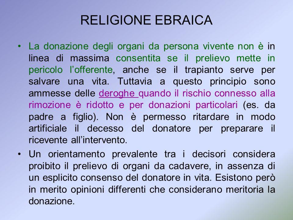 RELIGIONE EBRAICA La donazione degli organi da persona vivente non è in linea di massima consentita se il prelievo mette in pericolo lofferente, anche