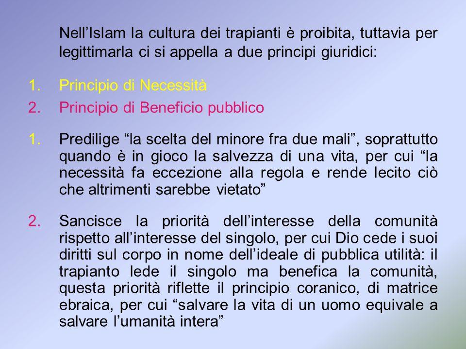 NellIslam la cultura dei trapianti è proibita, tuttavia per legittimarla ci si appella a due principi giuridici: 1.Principio di Necessità 2.Principio