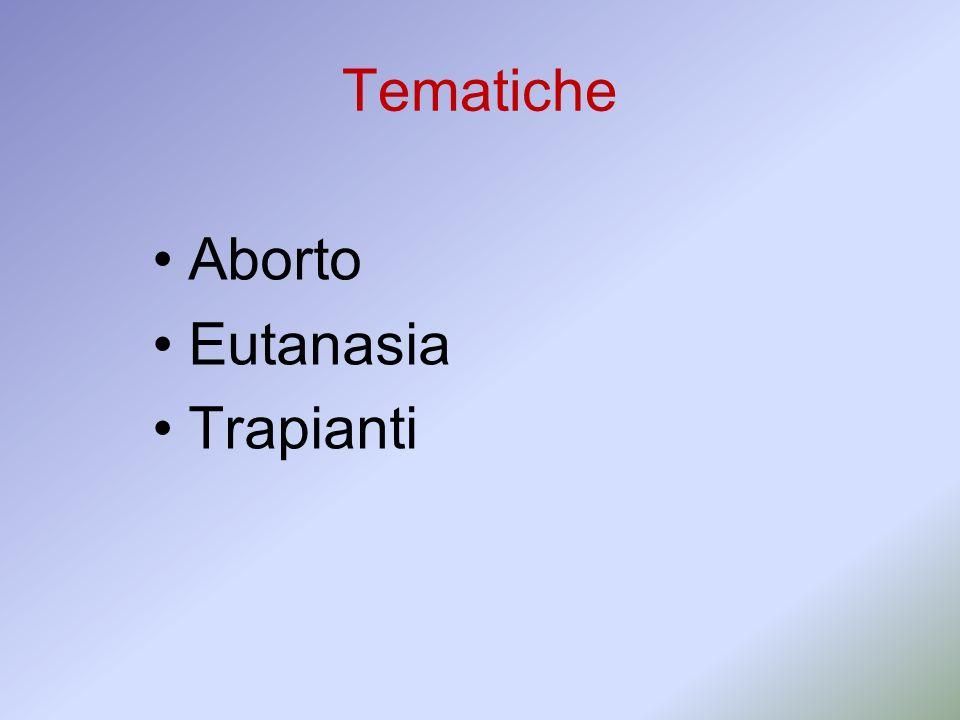 Tematiche Aborto Eutanasia Trapianti