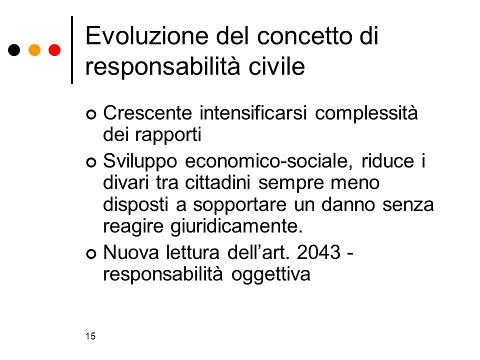 15 Evoluzione del concetto di responsabilità civile Crescente intensificarsi complessità dei rapporti Sviluppo economico-sociale, riduce i divari tra
