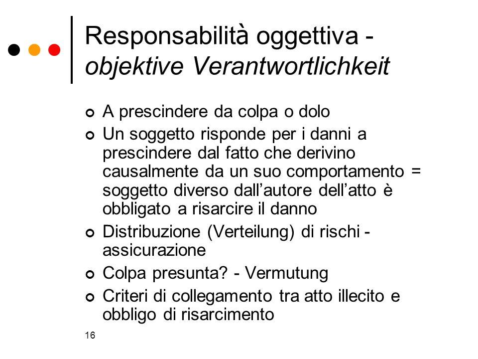 16 Responsabilit à oggettiva - objektive Verantwortlichkeit A prescindere da colpa o dolo Un soggetto risponde per i danni a prescindere dal fatto che
