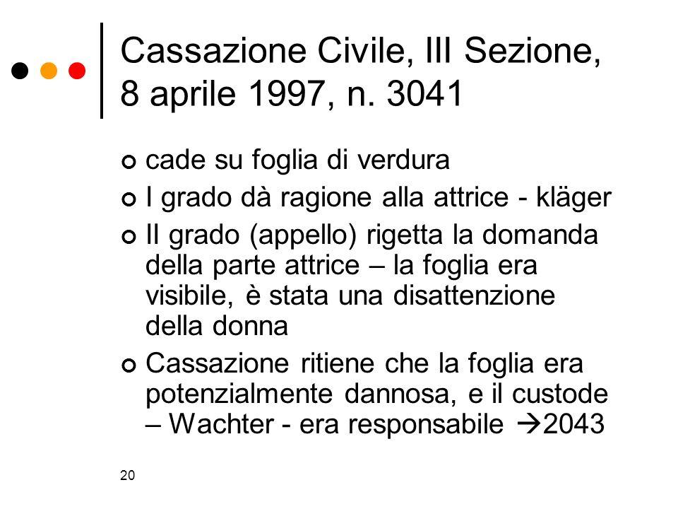 20 Cassazione Civile, III Sezione, 8 aprile 1997, n. 3041 cade su foglia di verdura I grado dà ragione alla attrice - kläger II grado (appello) rigett