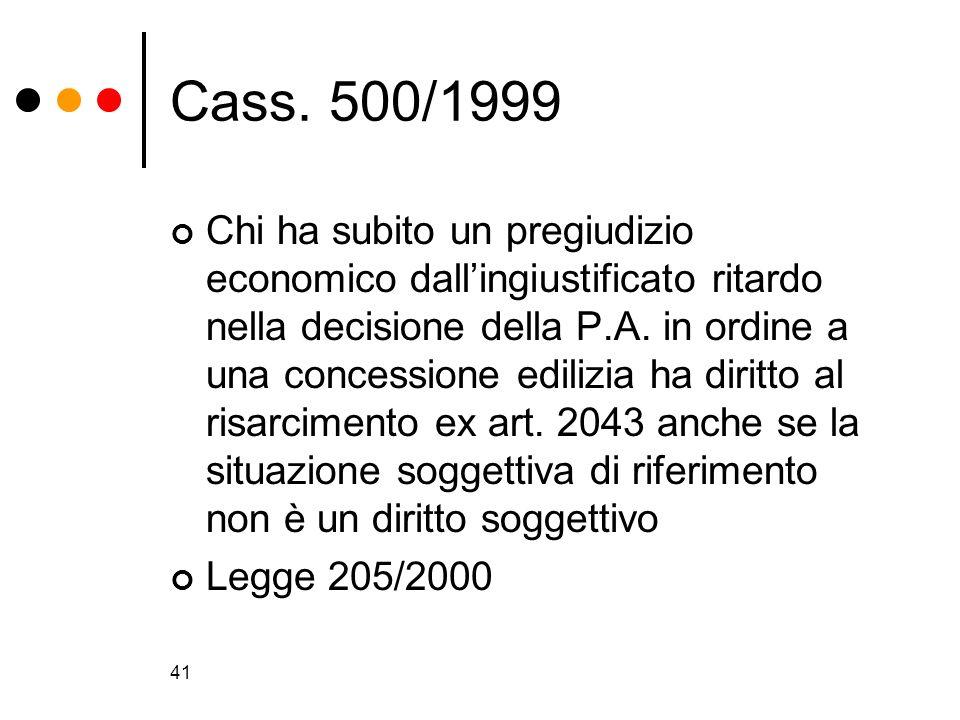 41 Cass. 500/1999 Chi ha subito un pregiudizio economico dallingiustificato ritardo nella decisione della P.A. in ordine a una concessione edilizia ha