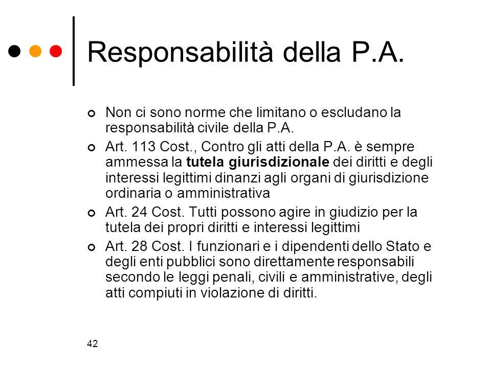 42 Responsabilità della P.A. Non ci sono norme che limitano o escludano la responsabilità civile della P.A. Art. 113 Cost., Contro gli atti della P.A.