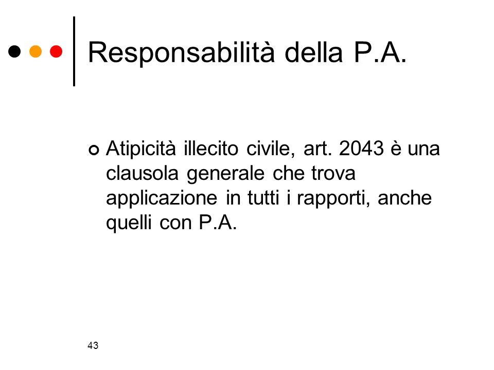 43 Responsabilità della P.A. Atipicità illecito civile, art. 2043 è una clausola generale che trova applicazione in tutti i rapporti, anche quelli con