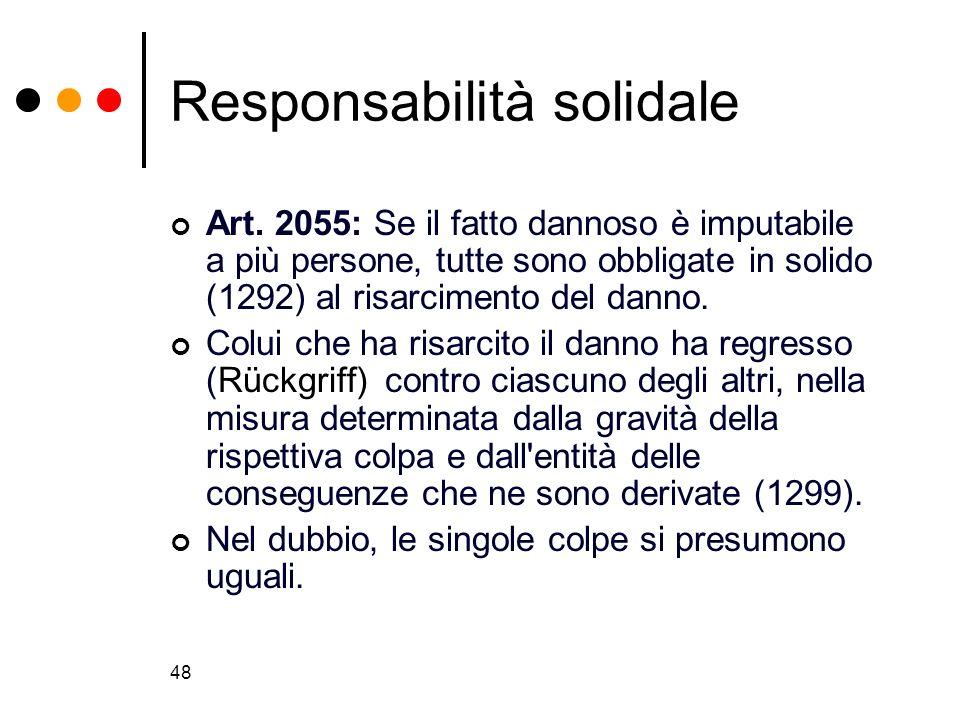 48 Responsabilità solidale Art. 2055: Se il fatto dannoso è imputabile a più persone, tutte sono obbligate in solido (1292) al risarcimento del danno.
