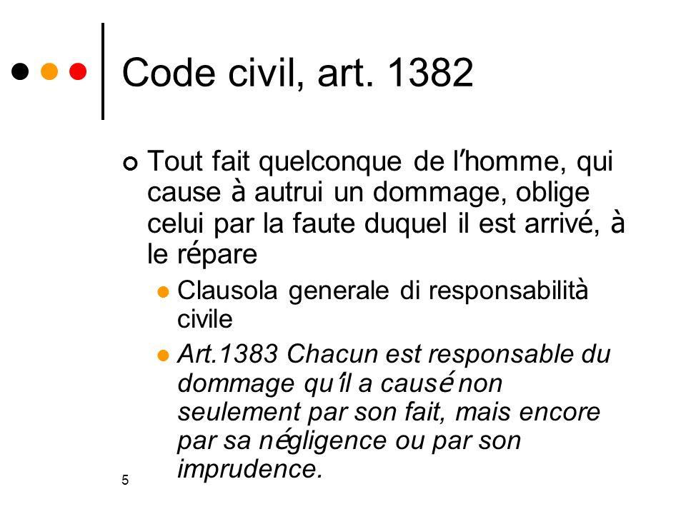 5 Code civil, art. 1382 Tout fait quelconque de l homme, qui cause à autrui un dommage, oblige celui par la faute duquel il est arriv é, à le r é pare