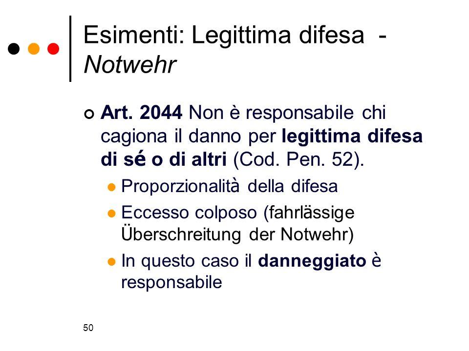 50 Esimenti: Legittima difesa - Notwehr Art. 2044 Non è responsabile chi cagiona il danno per legittima difesa di s é o di altri (Cod. Pen. 52). Propo